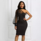 Women black dress one shoulder polka dots mesh dresses bodycon modest dress
